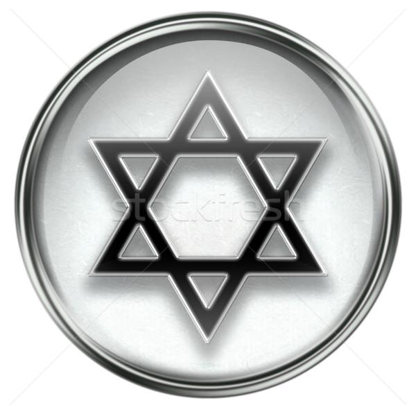 Star icône gris isolé blanche verre Photo stock © zeffss