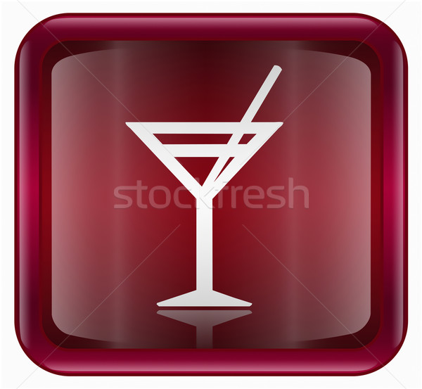 wineglass icon dark red, isolated on white background Stock photo © zeffss