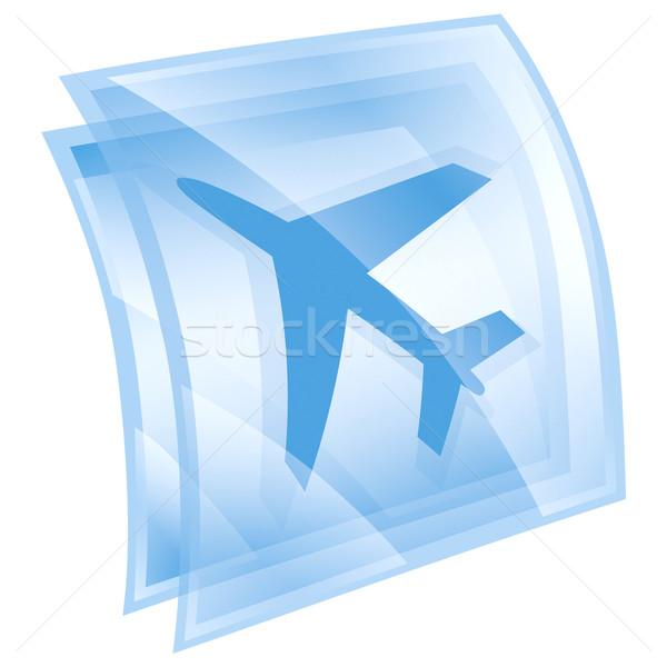 Stok fotoğraf: Uçak · ikon · mavi · yalıtılmış · beyaz · bilgisayar