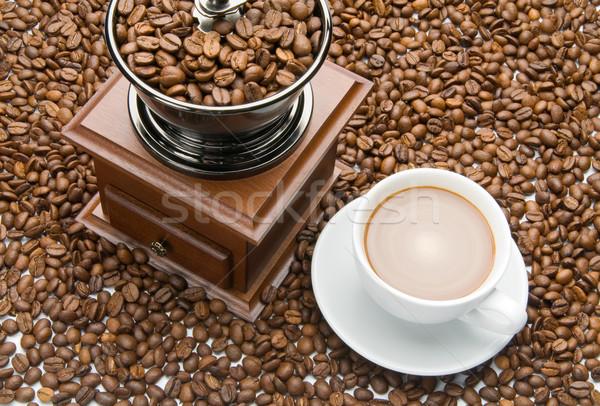 Eski kahve öğütücü fincan ahşap arka plan Stok fotoğraf © zeffss
