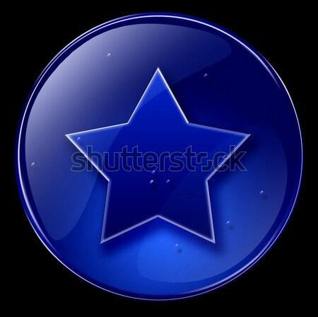 Foto stock: Estrela · ícone · escuro · azul · isolado · preto