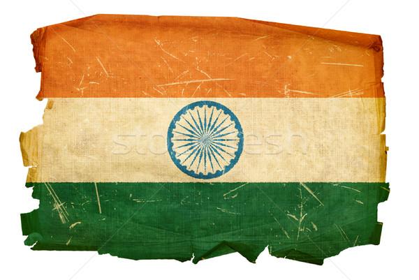 India zászló öreg izolált fehér festmény Stock fotó © zeffss