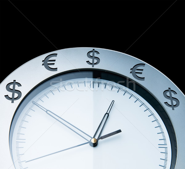 Moeda relógios isolado preto parede relógio Foto stock © zeffss
