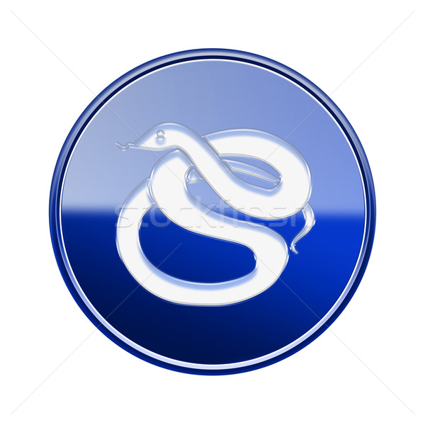 Snake Zodiac icon blue, isolated on white background. Stock photo © zeffss