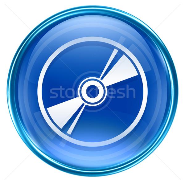 Foto stock: Disco · compacto · ícone · azul · isolado · branco · tecnologia