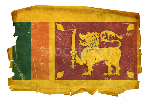 Sri Lanka Flag old, isolated on white background. Stock photo © zeffss