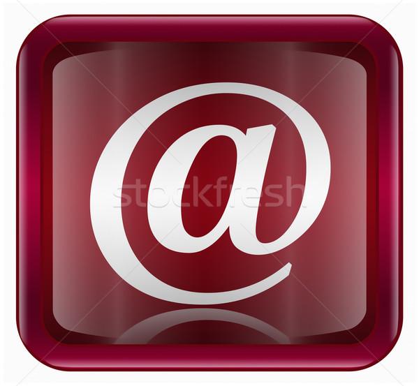Email szimbólum ikon sötét piros izolált Stock fotó © zeffss