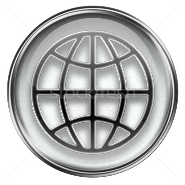 Сток-фото: Мир · икона · серый · изолированный · белый · компьютер