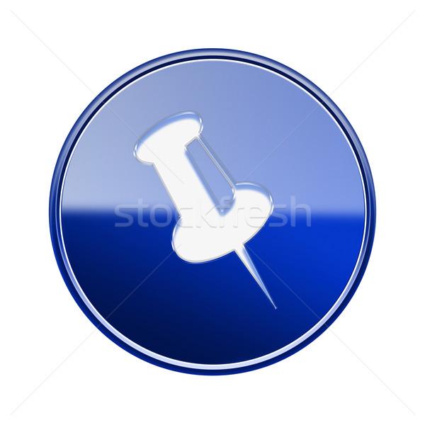 thumbtack icon glossy blue, isolated on white background. Stock photo © zeffss