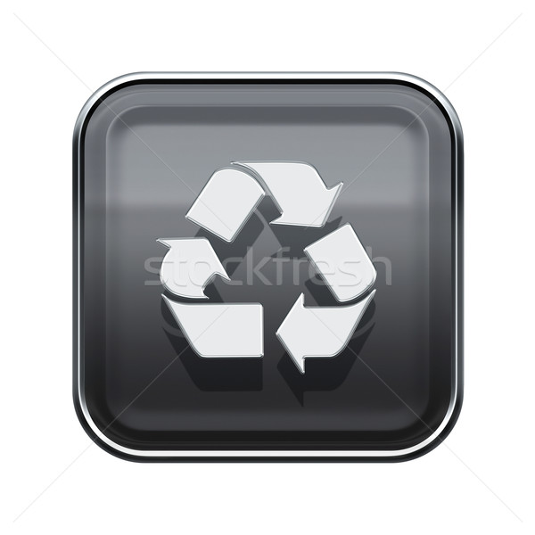 Recycling symbol glossy icon grey, isolated on white background Stock photo © zeffss