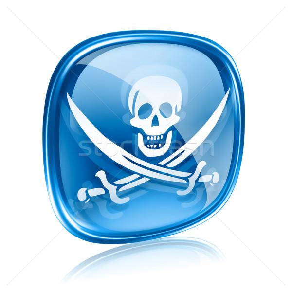 Pirata icona blu vetro isolato bianco Foto d'archivio © zeffss