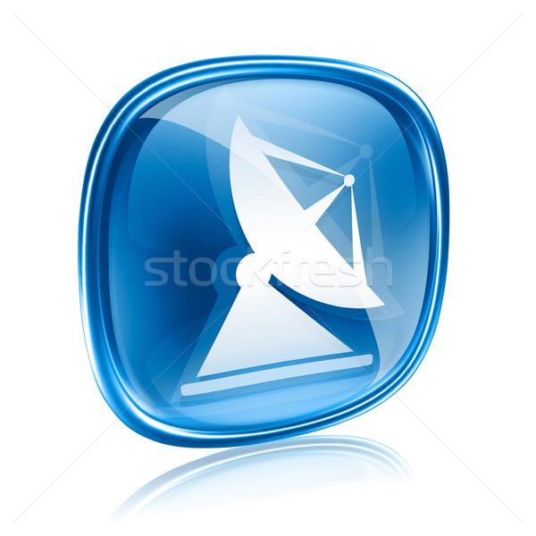 Antena ícone azul vidro isolado branco Foto stock © zeffss