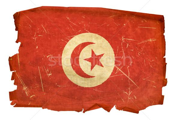 Tunísia bandeira velho isolado branco pintura Foto stock © zeffss
