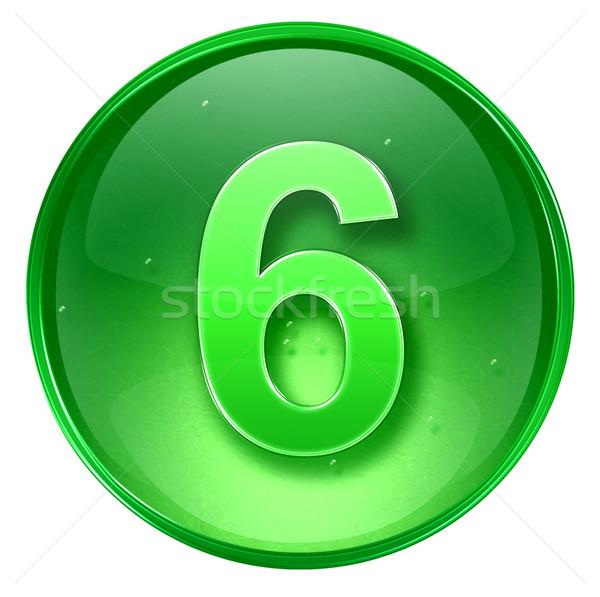 Сток-фото: числа · шесть · икона · зеленый · изолированный · белый