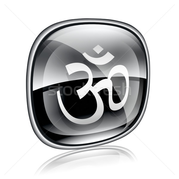 Om Symbol icon black glass, isolated on white background. Stock photo © zeffss