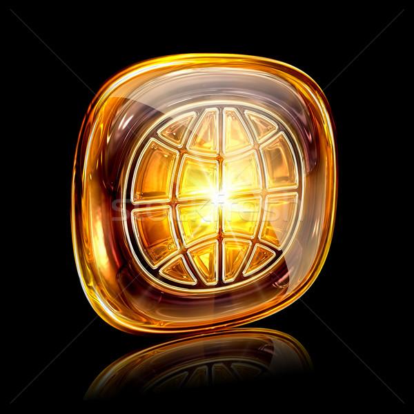 World icon amber, isolated on black background Stock photo © zeffss