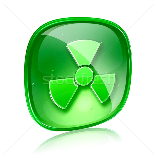 Radioactive icon green glass, isolated on white background. Stock photo © zeffss