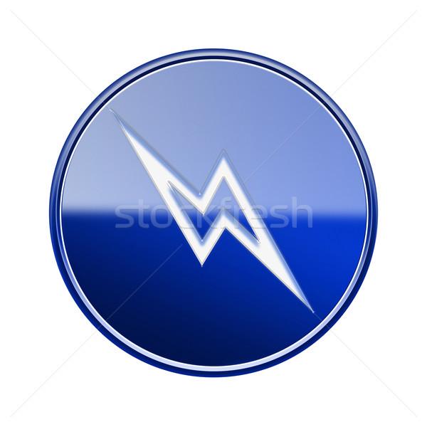 Молния икона синий изолированный белый Сток-фото © zeffss
