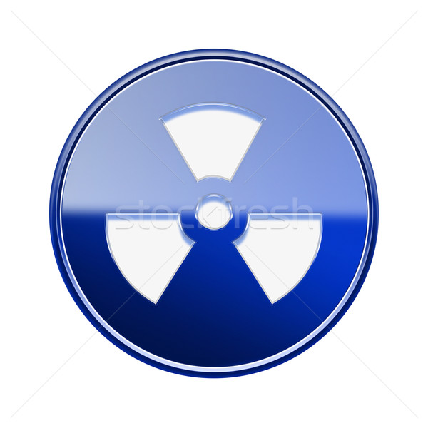 Radioactive icon glossy blue, isolated on white background. Stock photo © zeffss