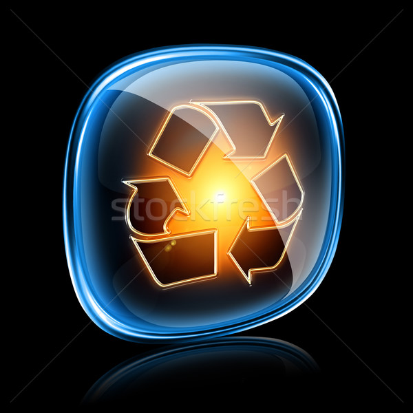 Recycling symbol icon neon, isolated on black background. Stock photo © zeffss