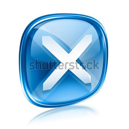 close icon blue glass, isolated on white background. Stock photo © zeffss