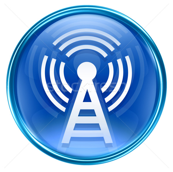 Stock photo: WI-FI tower icon blue, isolated on white background