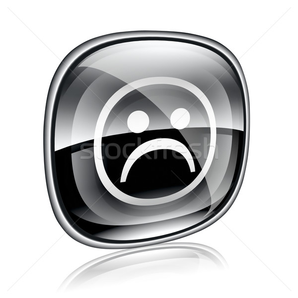 Smiley dissatisfied black glass, isolated on white background. Stock photo © zeffss