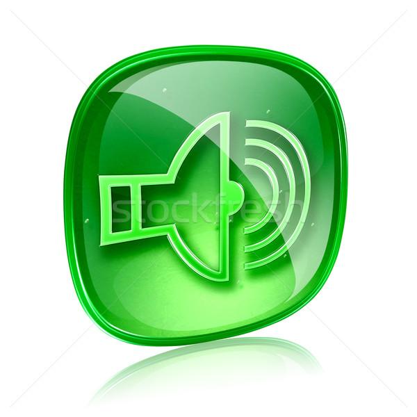 Spreker icon groene glas geïsoleerd witte Stockfoto © zeffss