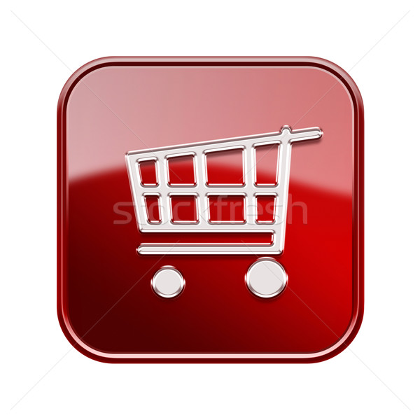 shopping cart icon  red, isolated on white background Stock photo © zeffss