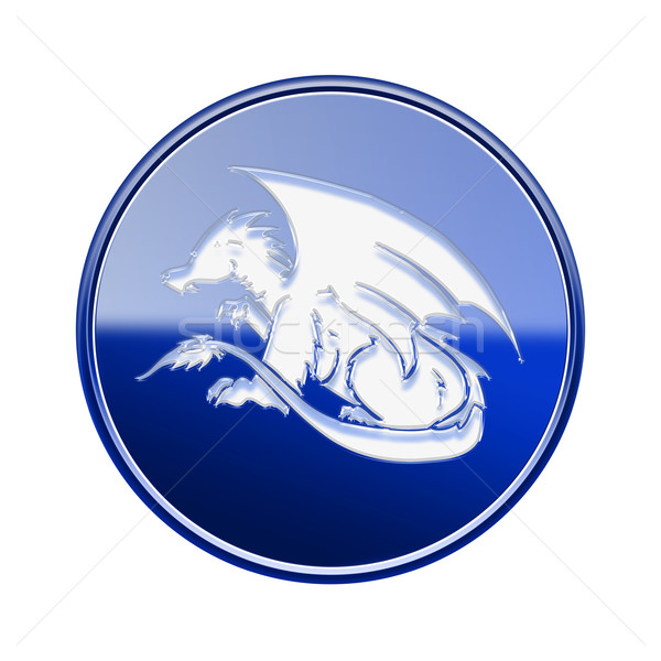 Dragon Zodiac icon blue, isolated on white background. Stock photo © zeffss