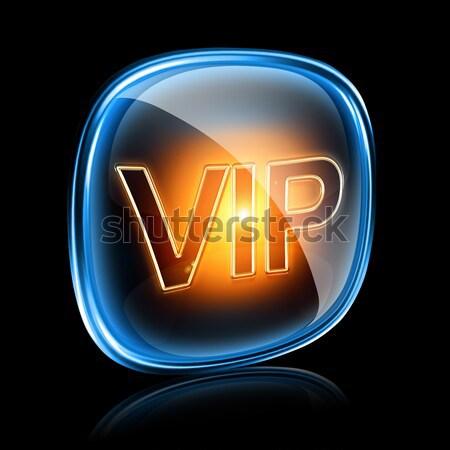 Vip icono oscuro azul aislado negro Foto stock © zeffss