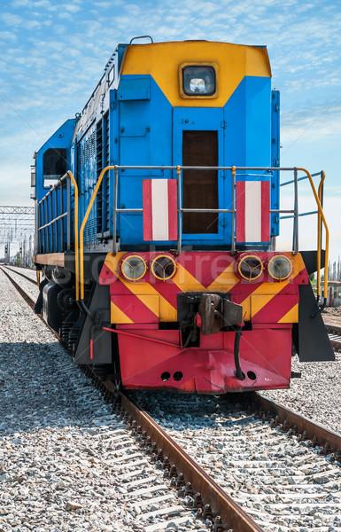 Diesel locomotive montagne industrie acier blanche Photo stock © zeffss
