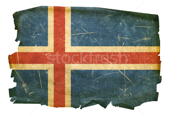 Iceland Flag old, isolated on white background Stock photo © zeffss