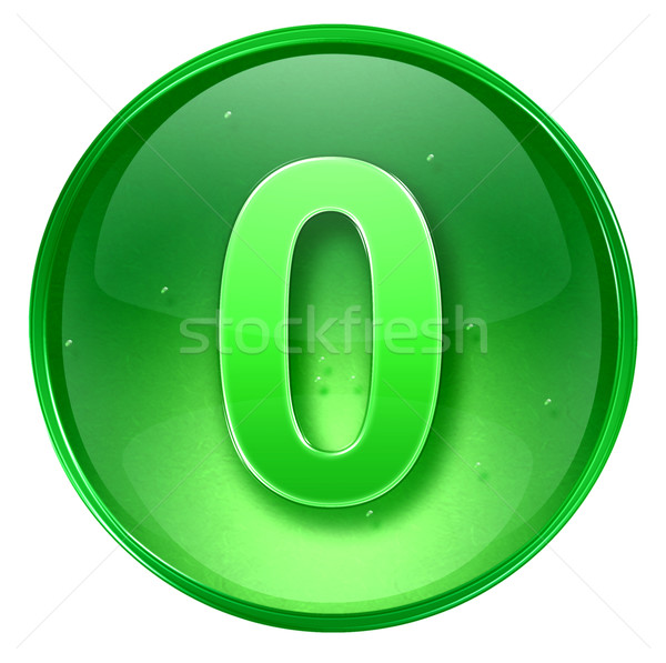 Aantal nul icon groene geïsoleerd witte Stockfoto © zeffss