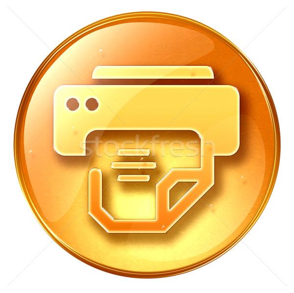 Сток-фото: принтер · икона · желтый · изолированный · белый · свет