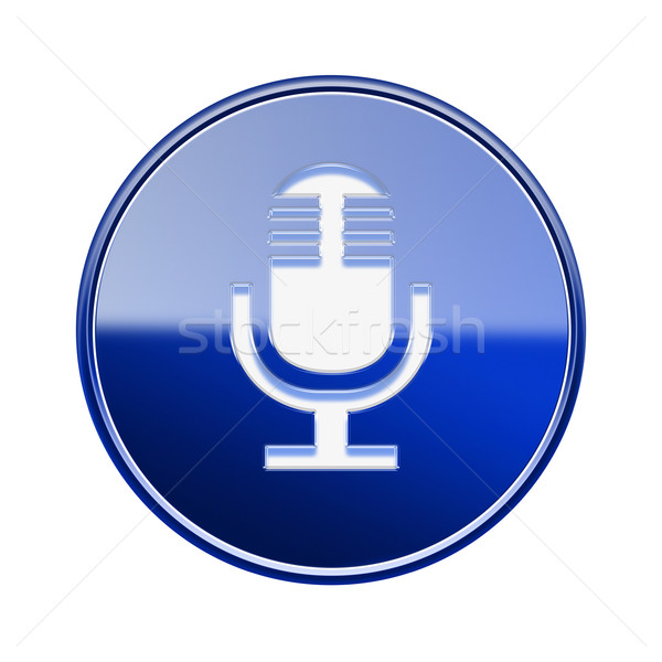 Microphone icon glossy blue, isolated on white background Stock photo © zeffss
