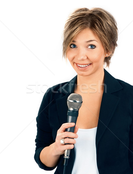 Tv correspondant blanche sourire micro Homme Photo stock © zeffss