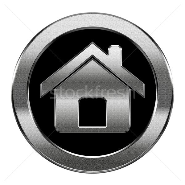 Home icona argento isolato bianco computer Foto d'archivio © zeffss