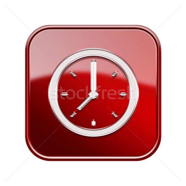 Stok fotoğraf: Saat · ikon · parlak · kırmızı · yalıtılmış · beyaz