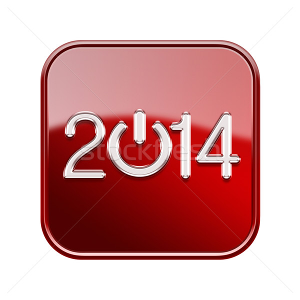 Year 2014 icon glossy red, isolated on white background Stock photo © zeffss