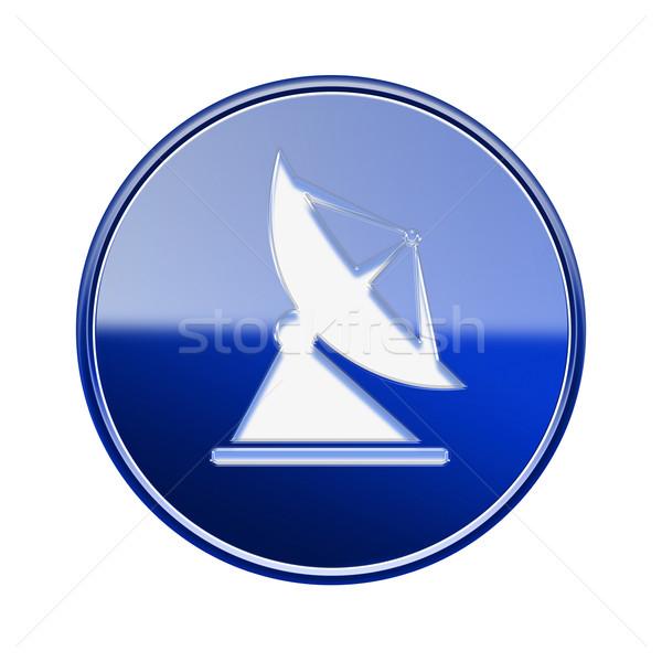Antenne icône bleu isolé blanche Photo stock © zeffss