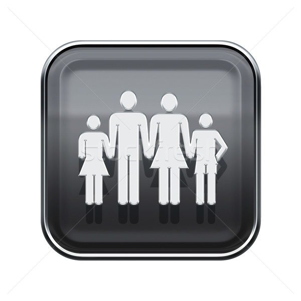 family icon glossy grey, isolated on white background. Stock photo © zeffss