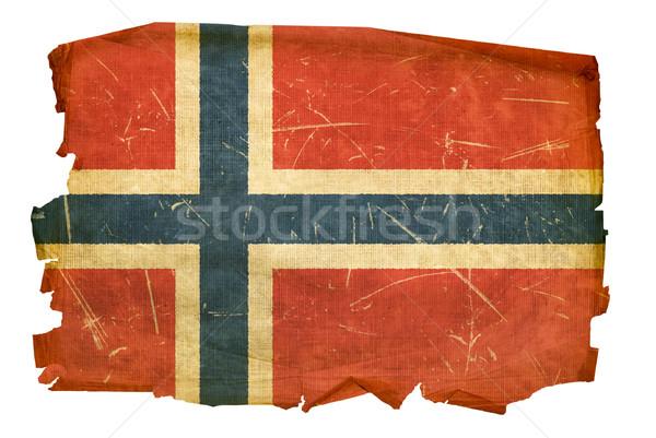 Noors vlag oude geïsoleerd witte schilderij Stockfoto © zeffss