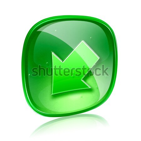 Exclamation symbol icon green glass, isolated on white backgroun Stock photo © zeffss