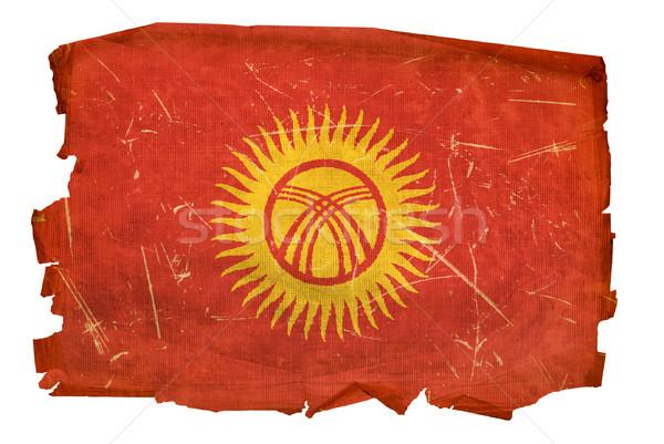 Kırgızistan bayrak eski yalıtılmış beyaz boyama Stok fotoğraf © zeffss