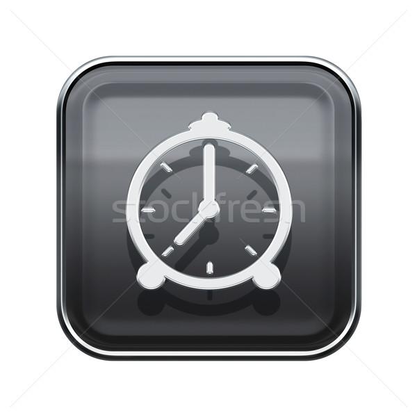 ébresztőóra ikon fényes szürke izolált fehér Stock fotó © zeffss