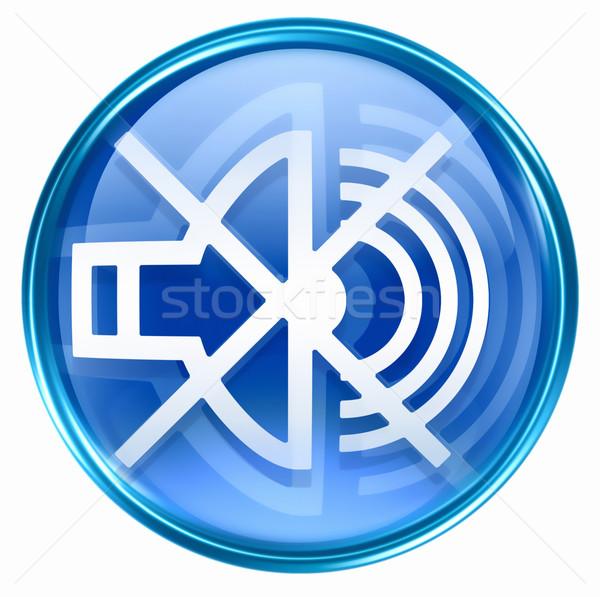 Hangszóró el ikon kék izolált fehér Stock fotó © zeffss
