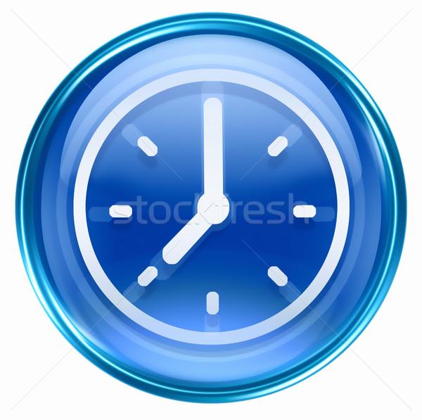 clock icon blue, isolated on white background Stock photo © zeffss