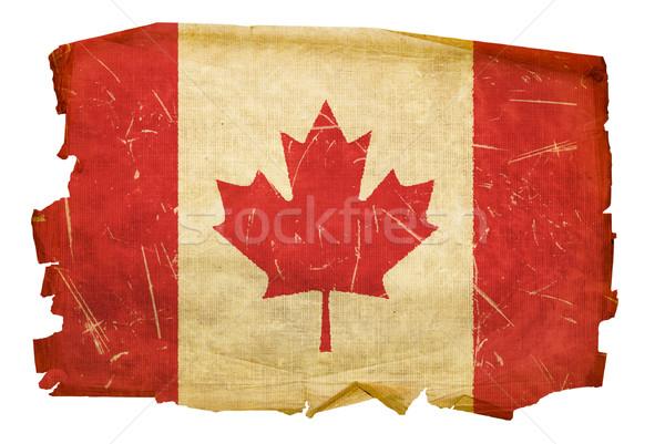 Canada vlag oude geïsoleerd witte papier Stockfoto © zeffss