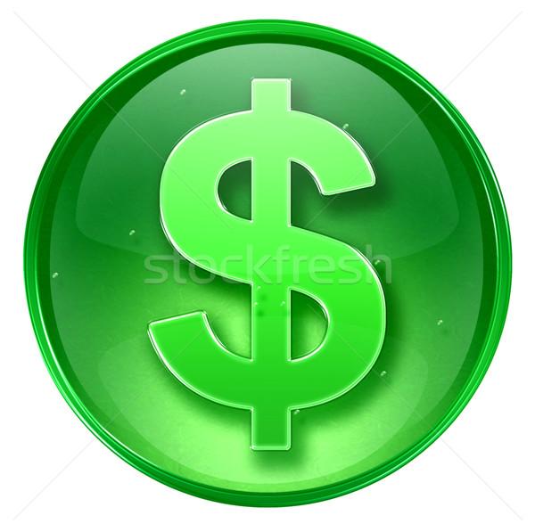 Сток-фото: доллара · икона · зеленый · изолированный · белый · бизнеса